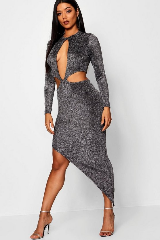 Cut Out Asymmetric Hem Dress