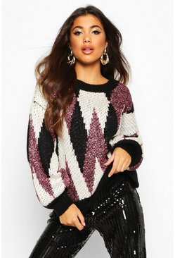 Black Premium Metallic Tinsel Knitted Jumper