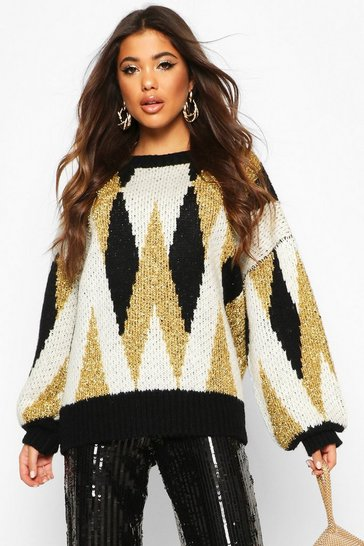 Womens Gold Premium Metallic Tinsel Knitted Jumper