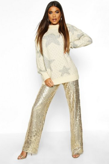 Womens Cream Premium Embellished Tinsel Jumper
