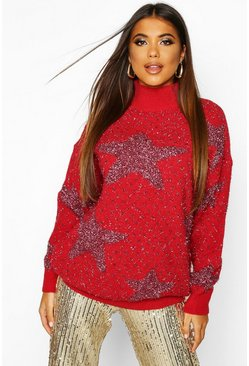 Red Premium Embellished Tinsel Christmas Jumper