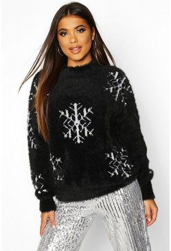 Premium Embellished Feather Knit Jumper, Black, Donna