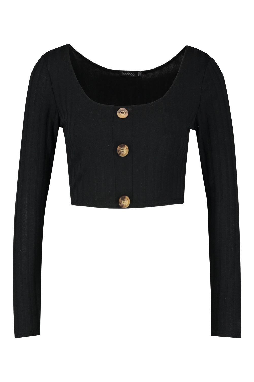 Rib Front Crop Long black Sleeve Knit Button 44WrwqBxPC
