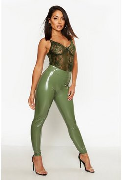 Womens Khaki High Waist Stretch Vinyl Leggings