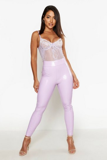 Womens Lilac High Waist Stretch Vinyl Leggings