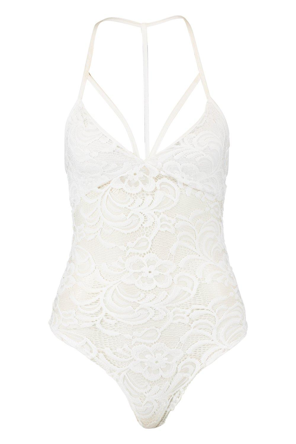 Lace Strappy white Lace Bodysuit Strappy aSPaqrz