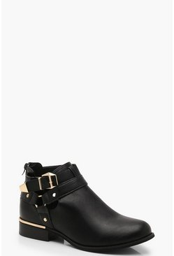 Womens Black Buckle Strap Chelsea Boots