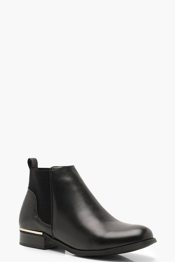 Womens Black Mix Material Chelsea Boots