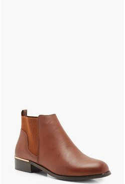 Womens Tan Metal Clip Chelsea Boots