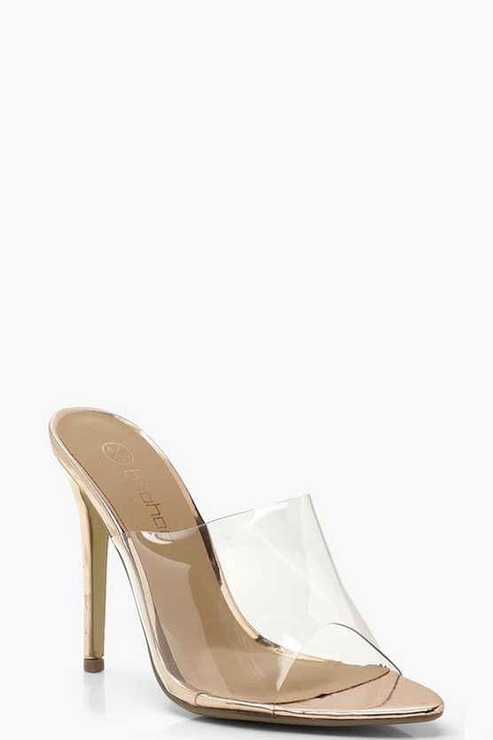 Womens Rose gold Wide Fit Clear Pointed Mule Heels