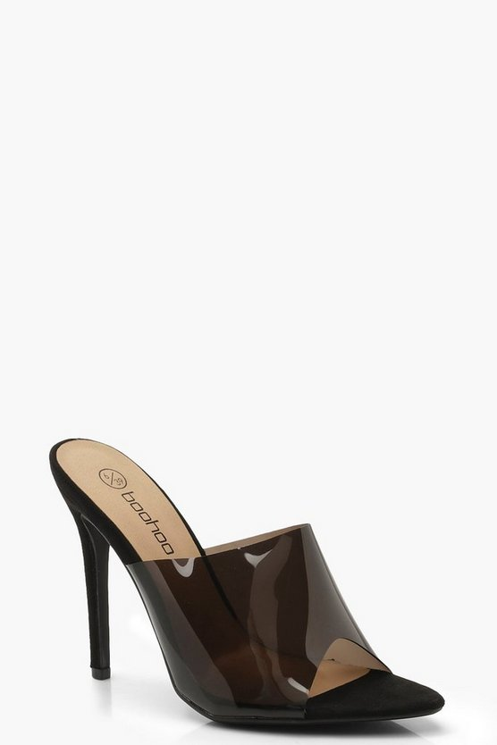 Wide Fit Perpex Pointed Mule Heels, Black, Donna