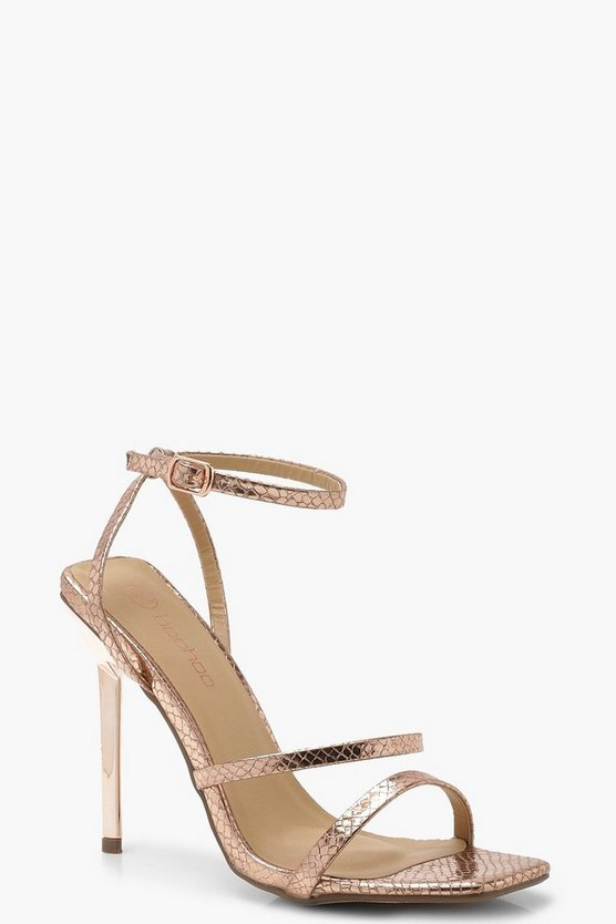 Rose gold Snake Square Toe Cushion Heels