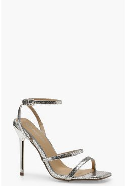 Womens Silver Snake Square Toe Cushion Heels