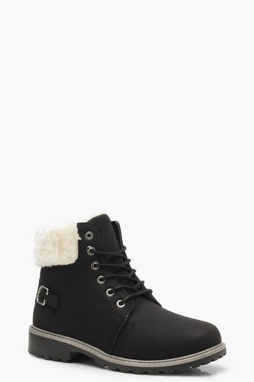 Womens Black Faux Fur Collar Hiker Boots