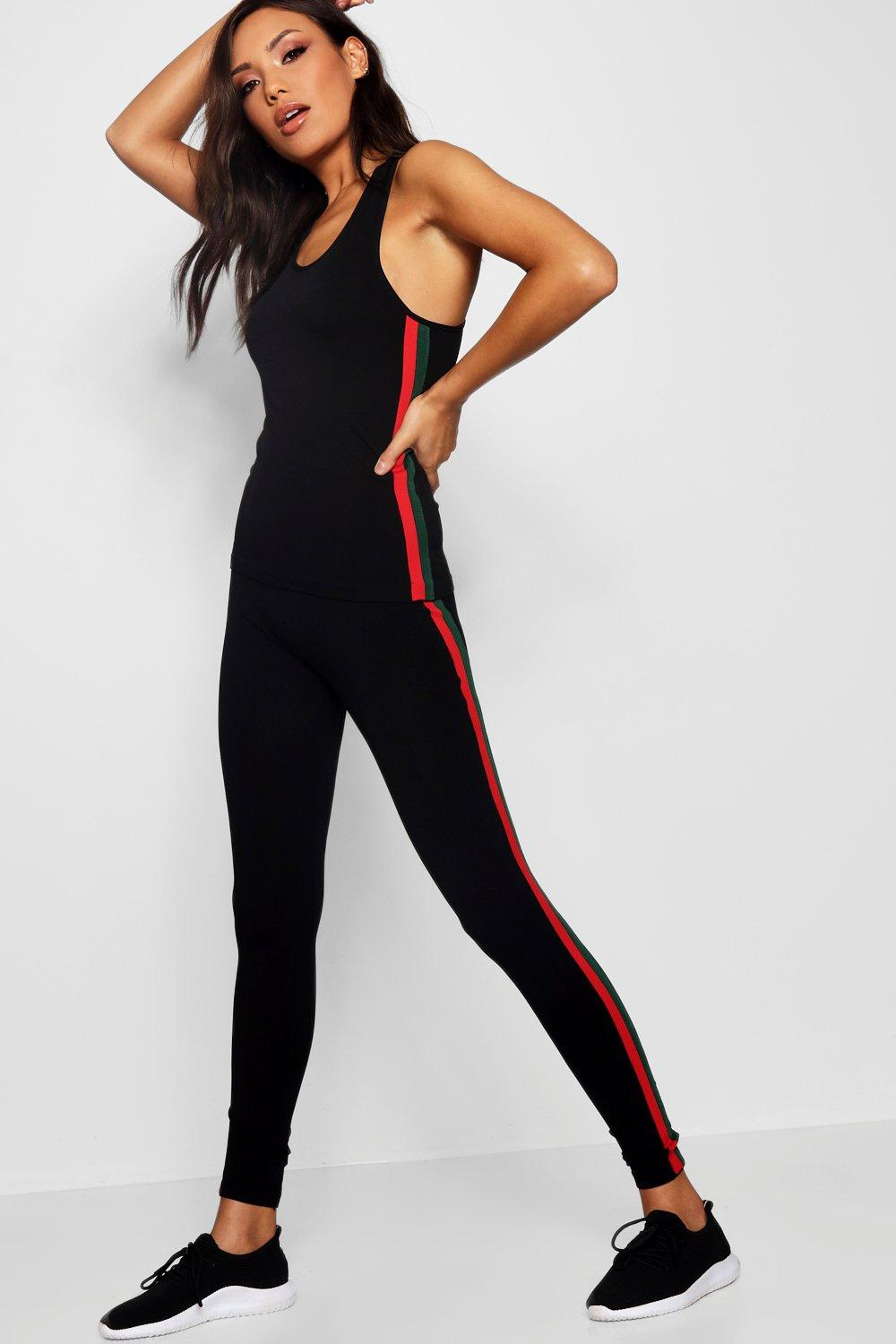 Set Leggings Fit Sports Stripe And Vest red nxn6HXq