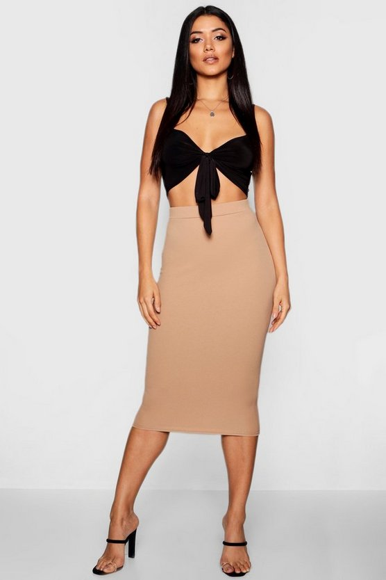 Womens Camel Basic Crepe Midi Skirt