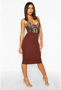Womens Chocolate Basic Crepe Midi Skirt