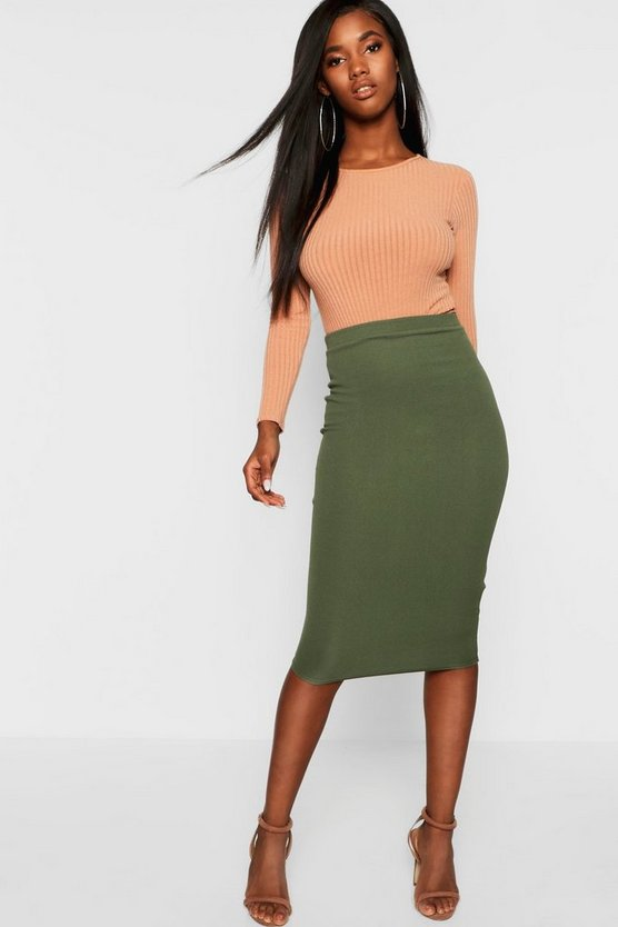 Basic Crepe Midi Skirt