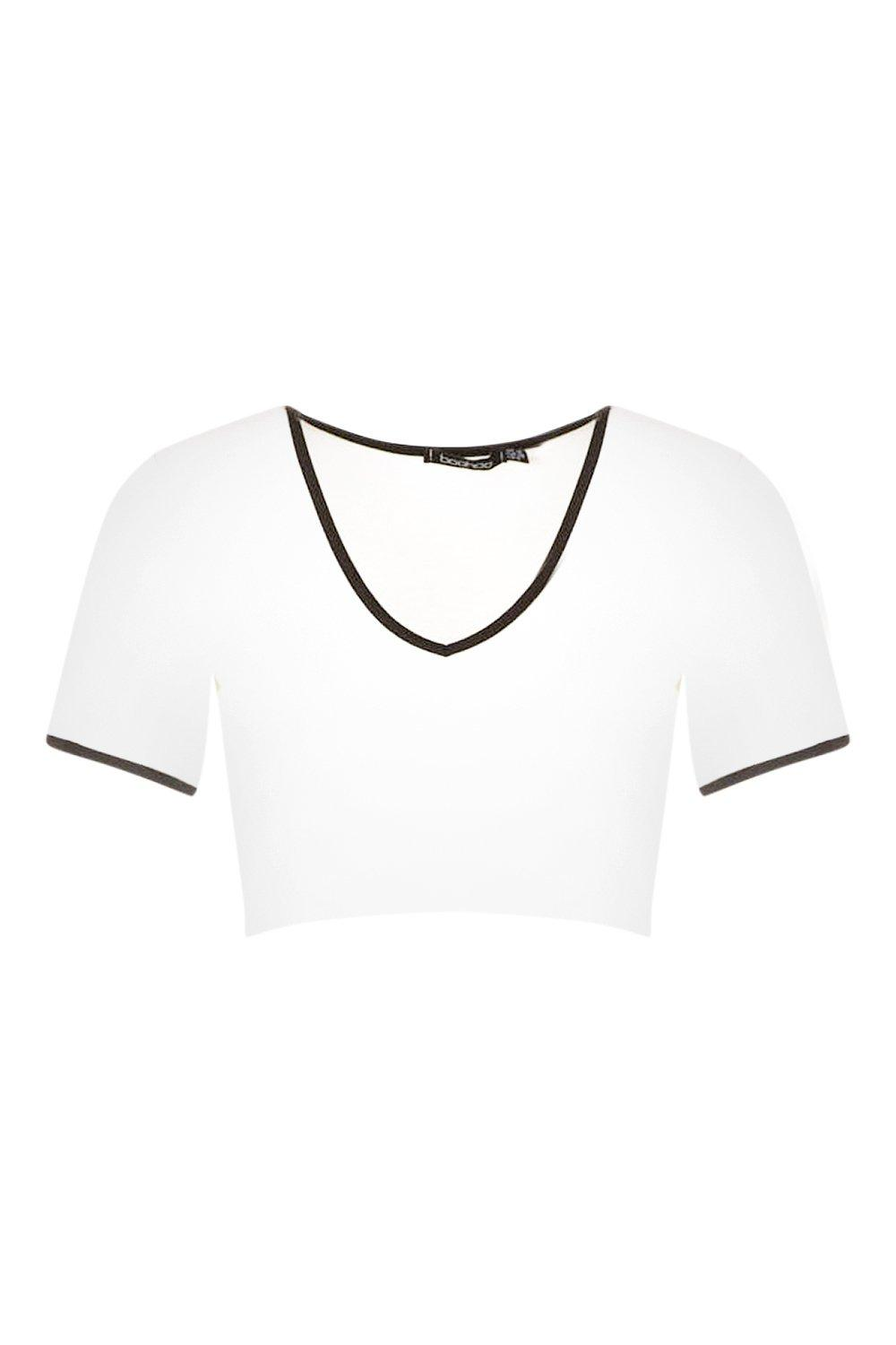 white Cap Crop Neck V Ringer Sleeve xXR1nXrwfq