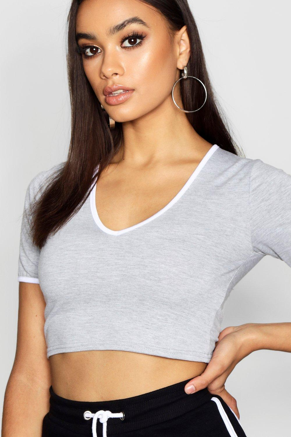 Neck Cap Sleeve Ringer white Crop V Y8HgqxH4
