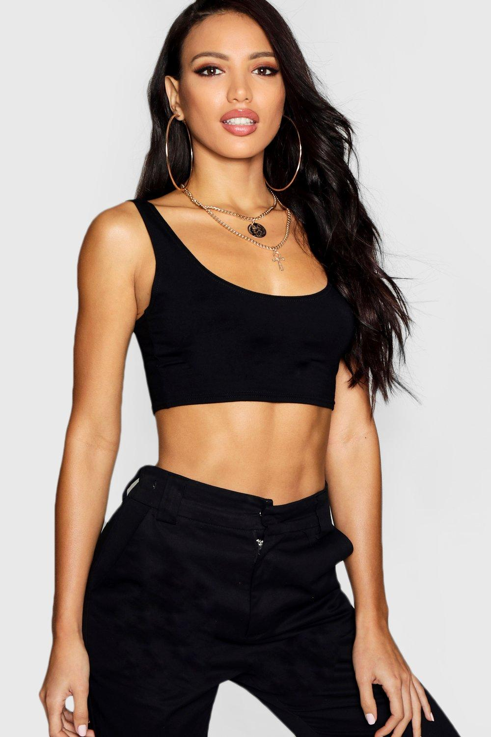 Top Neck black Crop Basic Scoop ZUwtqnxA