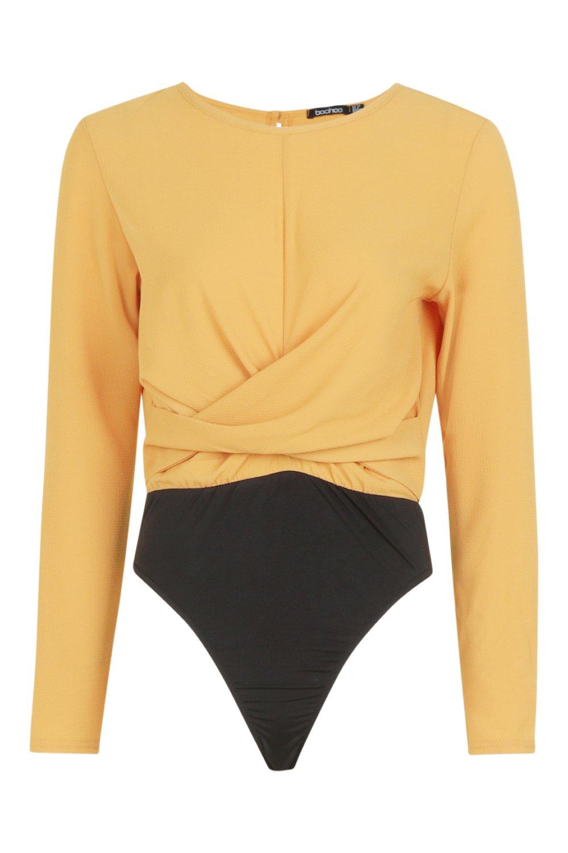 Front Twist mustard Front Bodysuit Twist zE0qnwf