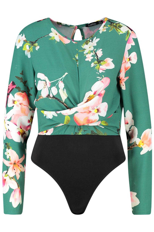 Twist green Plunge Floral Bodysuit Front vqAwdwx76
