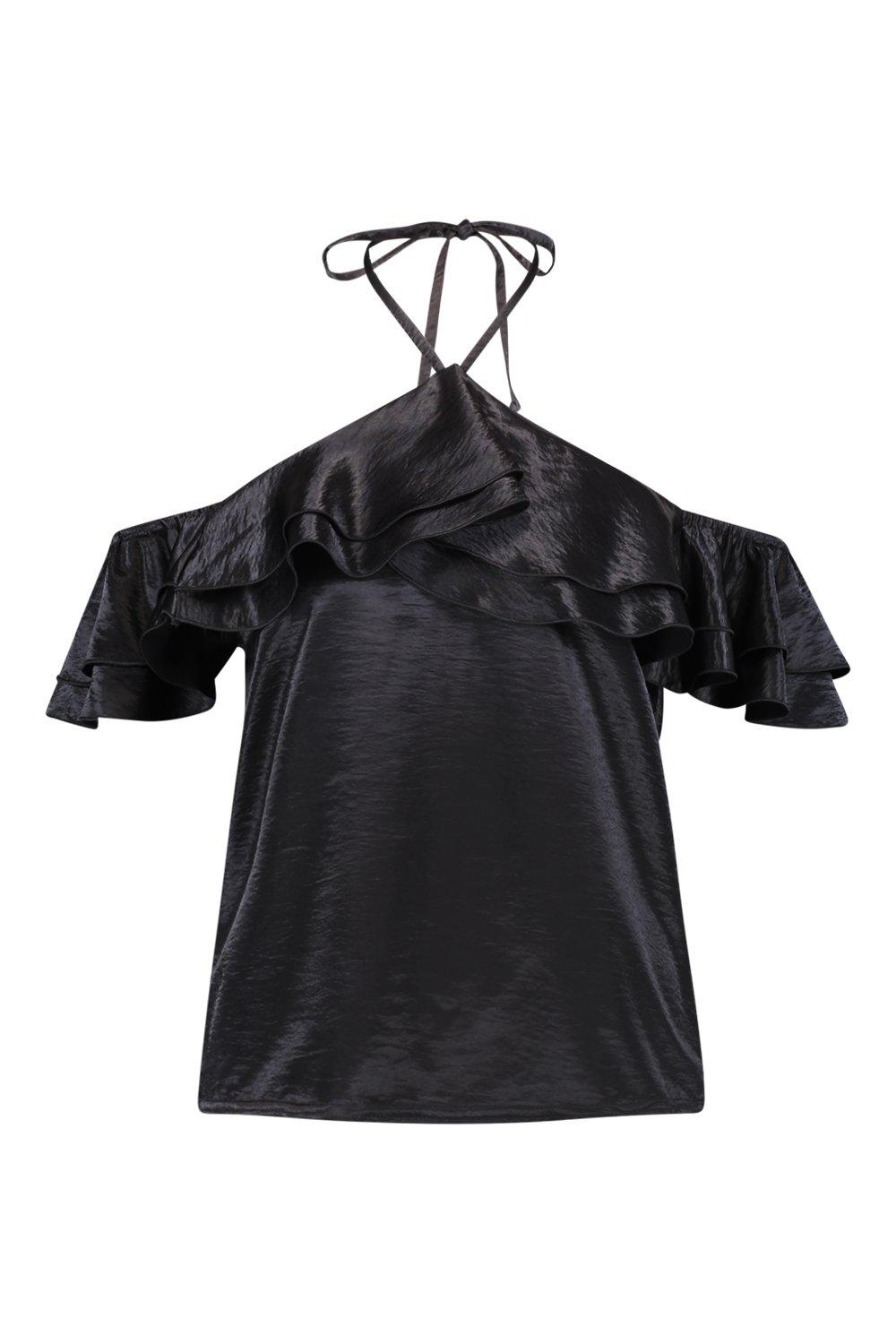 Satin Top Hammered black Ruffle Halter t5qgEw