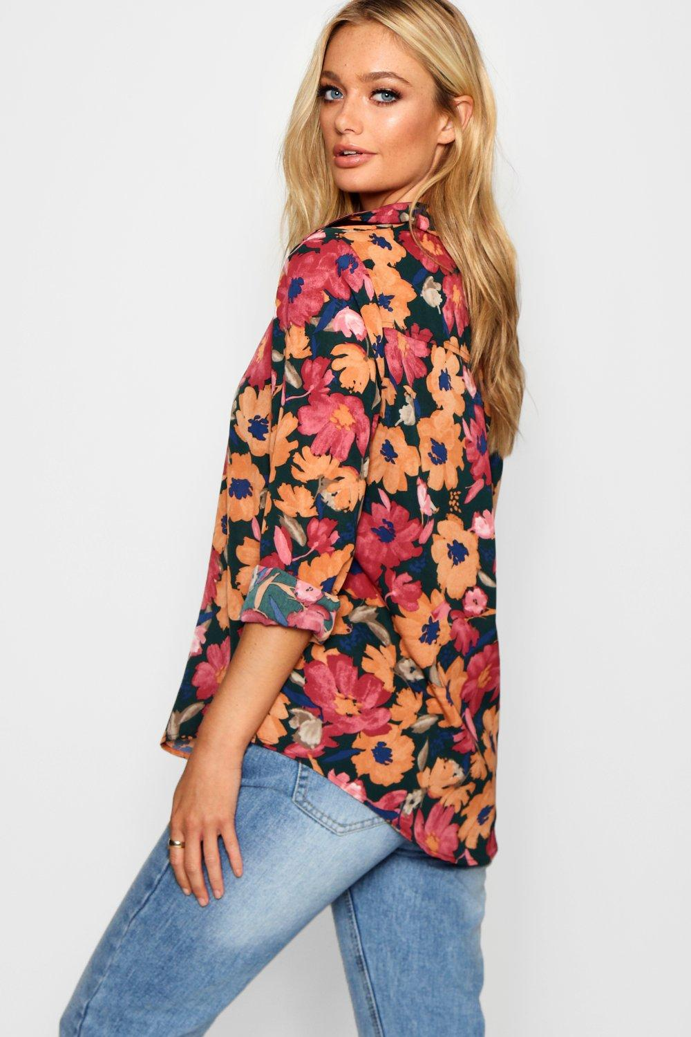 Shirt Floral Print Oversized orange Woven YwUnAp6