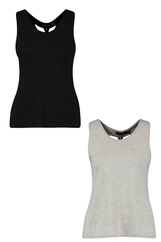 camisetas con Fit negro de dos Pack tirantes espalda de interiores wZgIRqES