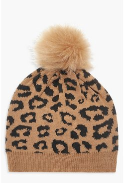 Womens Brown Leopard Faux Fur Pom Beanie