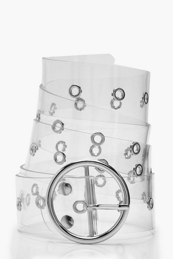 Clear Eyelet Circle Ring Belt