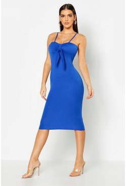 Womens Cobalt Tie Front Midi Dress