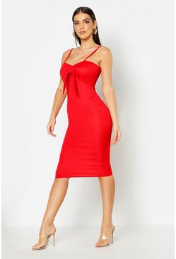 Womens Red Tie Front Midi Dress
