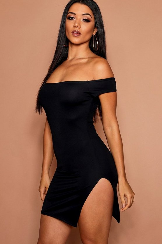 Womens Off The Shoulder Thigh Split Bodycon Dress