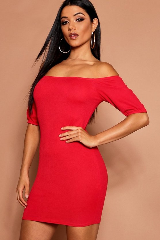 Off The Shoulder Puff Sleeve Bodycon Dress