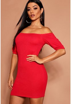 Womens Red Off The Shoulder Puff Sleeve Bodycon Dress