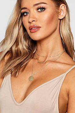 Textured Coin & Bar Layered Necklace