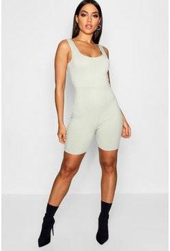 Womens Sage Basic Wide Strap Ribbed Unitard