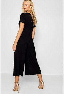 Womens Black Wrap Culotte Jumpsuit