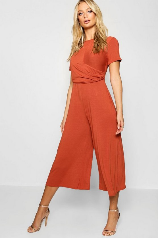 Womens Rust Wrap Culotte Jumpsuit