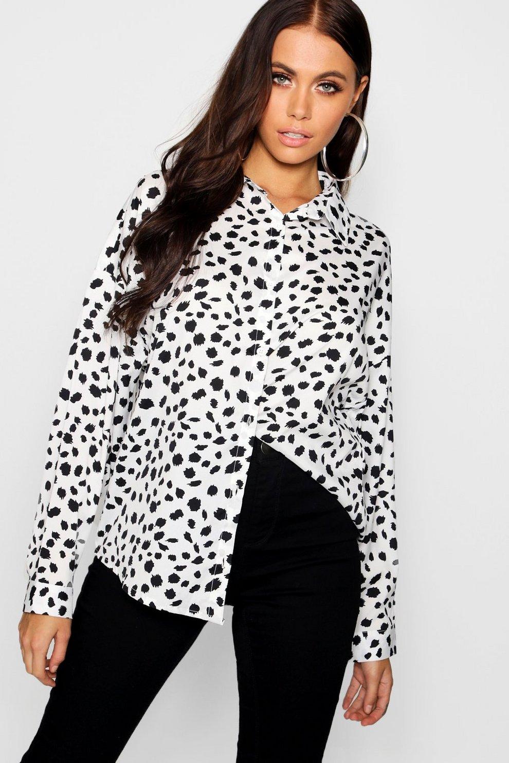 3c64d55365aa Dalmatian Print Shirt   Boohoo