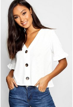 Womens White Horn Button Frill Sleeve Top