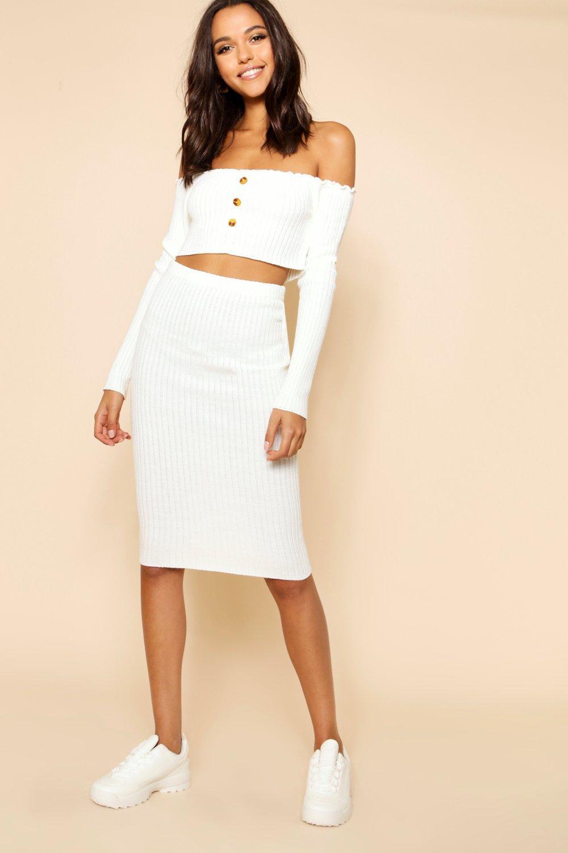 estilo Conjunto delante de falda Bardot botones canalé en punto con por top de crema y EZarZq