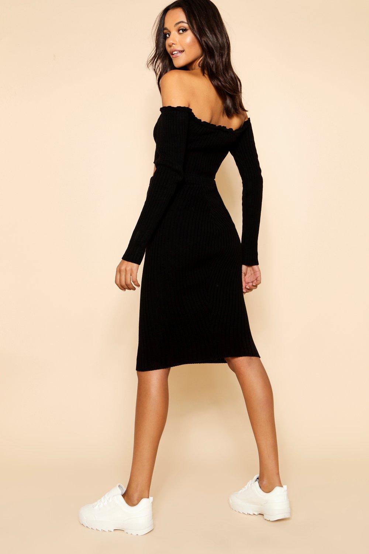 Bardot estilo de Conjunto de botones punto y falda por canalé en con delante crema top Etqwfqgp