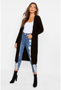 Womens Chocolate Oversized Longline Boyfriend Cardigan