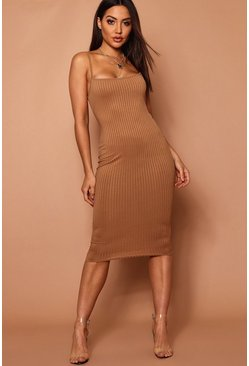 Womens Camel Strappy Jumbo Rib Midi Dress