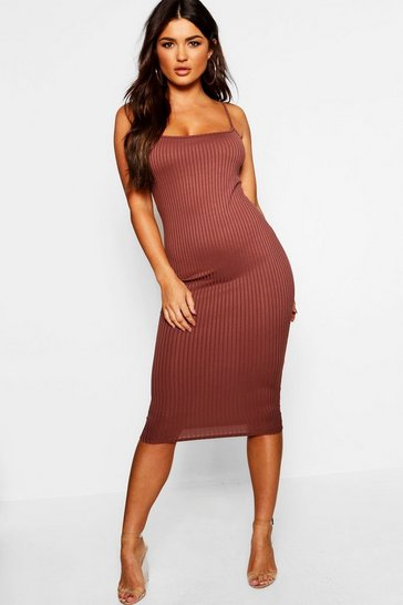 Womens Chocolate Strappy Jumbo Rib Midi Dress