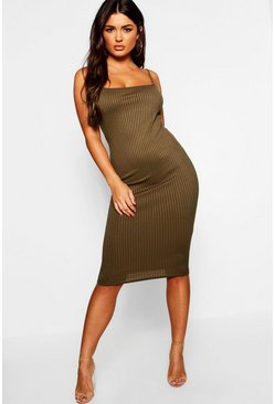 Womens Khaki Strappy Jumbo Rib Midi Dress