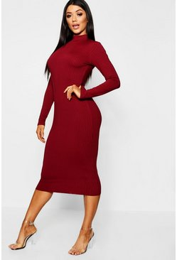 Womens Berry High Neck Jumbo Rib Midi Dress